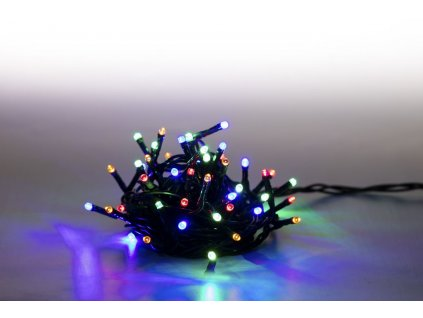 Řetěz světelný 100 LED 5 m - barevný - zelený kabel