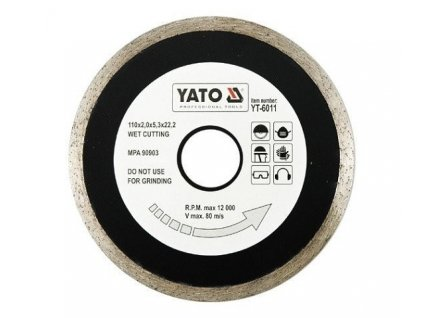 Diamantový kotouc YATO 230 mm, celoobvodový