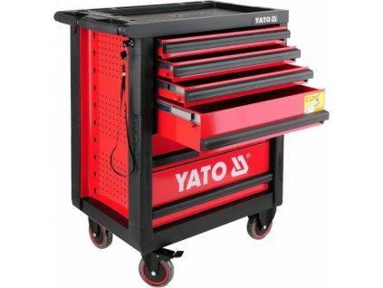 Dílenský vozík na nářadí YATO pojízdná, 6 zásuvek, červená