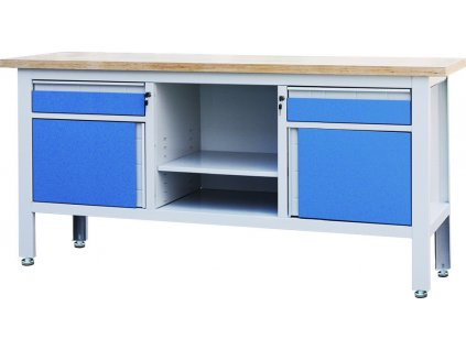 Pracovní stůl se dvěma zásuvkami, se dvěma skřínkami a policí - TSK7522-L | Torin BIG RED