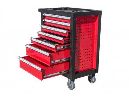Dílenský vozík s nářadím AHPROFI červený, 7 zásuvek, 245 dílů