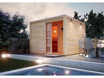 Finská sauna KARIBU CUBEN s předsíní