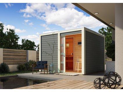 Finská sauna KARIBU CUBEN tm. šedá s předsíní