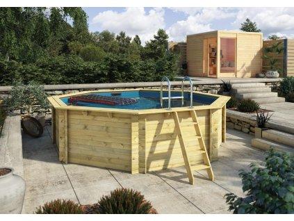 Dřevěný bazén KARIBU 4,0 x 4,0 m A1 KOMFORT (91845)