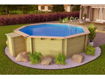 Dřevěný bazén KARIBU 4,0 x 4,0 m A1 PREMIUM (91843)