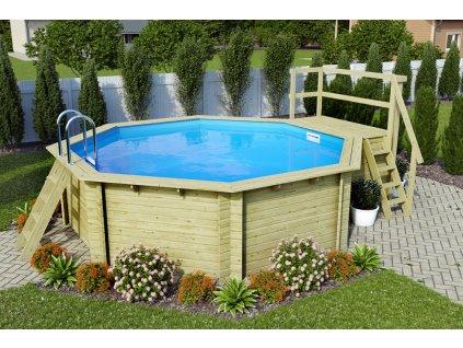 Dřevěný bazén KARIBU 4,0 x 4,0 m B1 (45627)