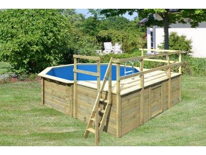 Dřevěný bazén KARIBU 4,0 x 4,0 m D1 (45629)
