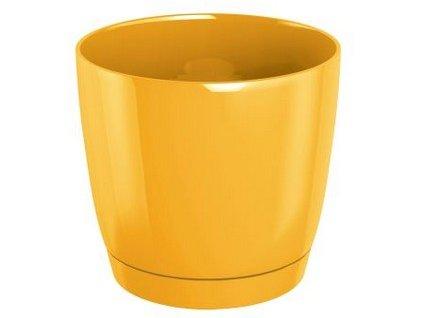 Květináč s miskou COUBI 13,5 cm, 1,2l, žlutá