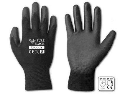 Pracovní rukavice Bradas PURE BLACK PU 9