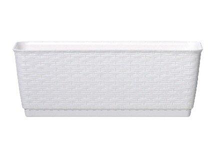 Truhlík s miskou RATOLLA P 49,2 x 17,2 cm, bílá