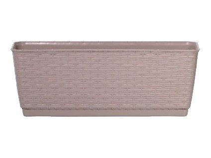 Truhlík s miskou RATOLLA P 49,2 x 17,2 cm, tmavě béžová