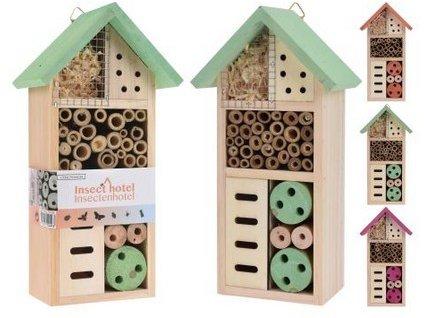 Hotel hmyzí 26x13x8,5x cm dřevěný mix barev