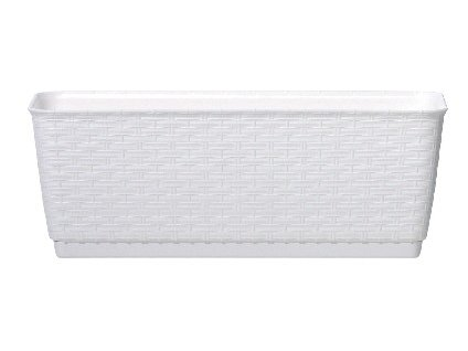 Závěsný truhlík s miskou RATOLLA PW 49,2 x 17,2 cm, bílá