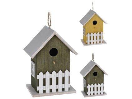 Budka ptačí zahnizďovací 12x16x23 cm dřevěná mix barev