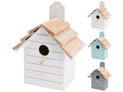 Budka ptačí zahnizďovací 16x22x11 cm dřevěná mix barev