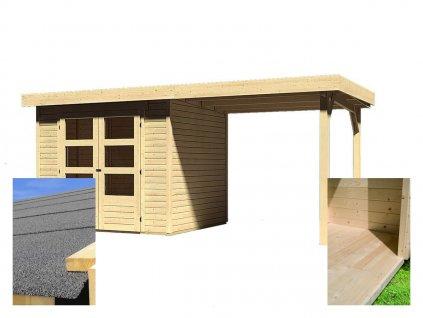 Dřevěný domek KARIBU ASKOLA 3 + přístavek 240 cm (14521) SET