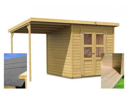 Dřevěný domek KARIBU MERSEBURG 4 + přístavek 166 cm (14519) SET