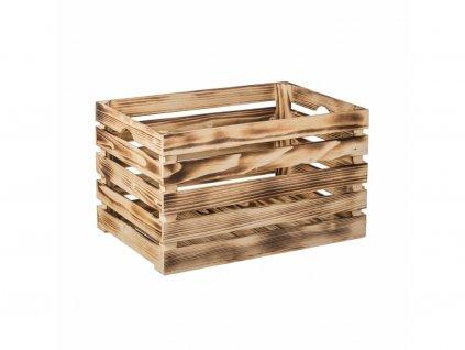 Dřevěná bedýnka 46 x 32 x 30cm, opálená