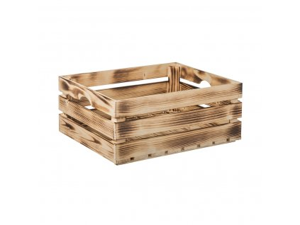 Dřevěná bedýnka 50 x 39 x 20 cm, na ovoce, opálená