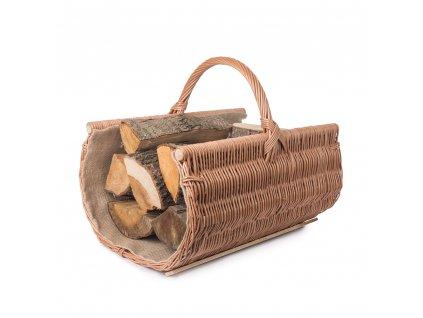 Proutěný koš na dřevo zaoblený přírodní