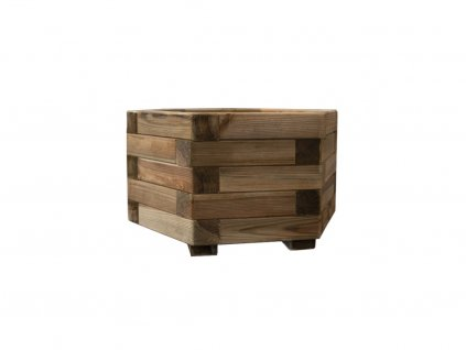 dreveny vyvyseny zahon royal hexagonal planter 45 x 25 cm