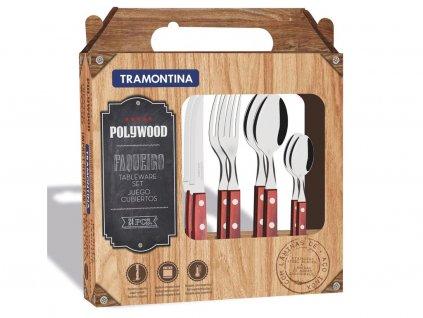 bbq set priboru churrasco polywood 24ks darkove baleni cervena
