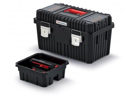 Kufr na nářadí HEAVY černý 585x360x337, s kovovými zámky