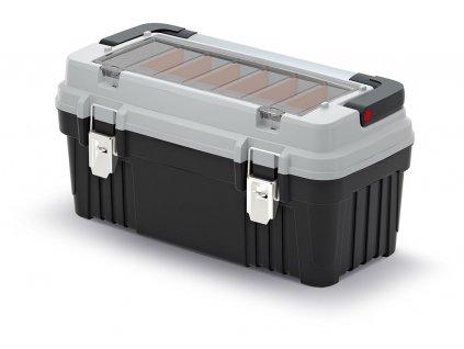 Kufr na nářadí OPTIMA 540x278x269, s kovovým držadlem a zámky, šedý