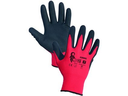 Povrstvené rukavice ALVAROS, červeno-černé, vel. 09