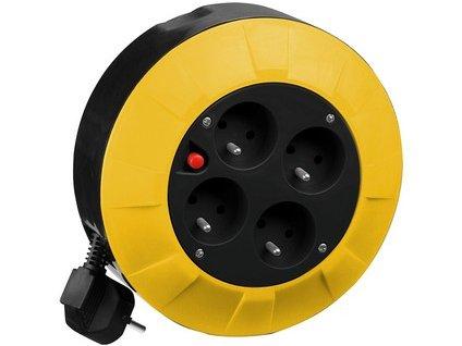 Kabel prodlužovací PROTECO  4 m  (4 zásuvky), na bubnu  průřez 1,5mm2