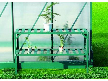 Hliníkový regál Lanitplast 126 x 50 cm dvoupolicový zelený
