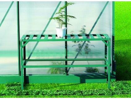 Hliníkový regál Lanitplast 126 x 50 cm jednopolicový zelený