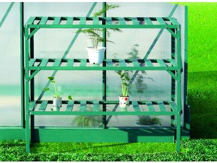 Hliníkový regál Lanitplast 126 x 50 cm třípolicový zelený