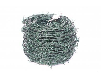 Ostnatý drát na plot poplastovaný (PVC) průměr 2/2,50 mm, 100 m délka, zelený