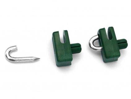 Příchytka z PVC na nap. drát - zelená na PVC sloupek natloukací