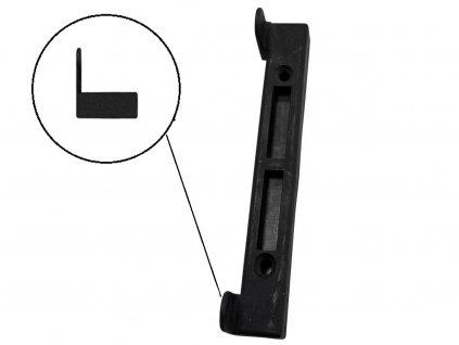 Doraz branky, brány PVC černý na rovný profil 27 x 3,4 cm