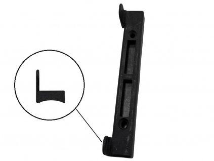 Doraz branky, brány PVC černý na kulatý profil 27 x 3,4 cm