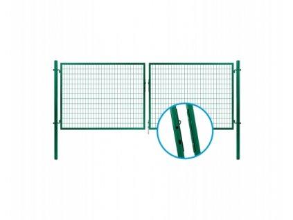 Brána dvoukřídlá svař.síť SOLID, výška 195x360cm OKO zelená