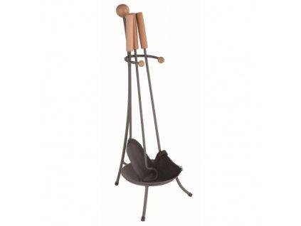 nářadí krbové v.67 cm, ČER ocel/dřevo, sada 3díl. se stojánkem