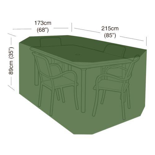 plachta krycí na set 4 židlí+obdél.stůl 215x173x89cm, PE 90g/m2