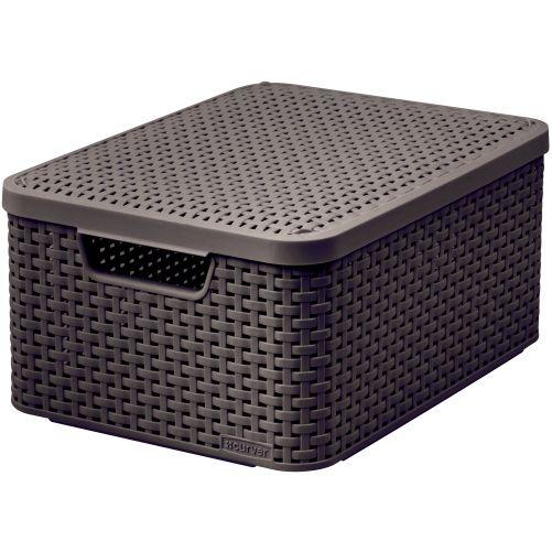 CURVER box úložný RATTAN 40x29x19cm (M) s víkem, STYLE2, PH HN
