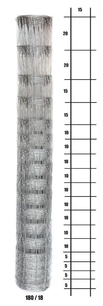 Uzlové lesnické pletivo výška 180 cm, 1,6/2,0 mm, 18 drátů