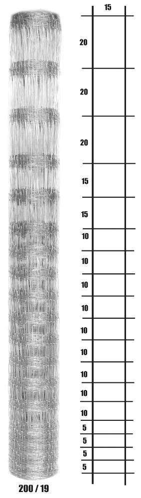 Uzlové lesnické pletivo výška 200 cm, 1,6/2,0 mm, 19 drátů