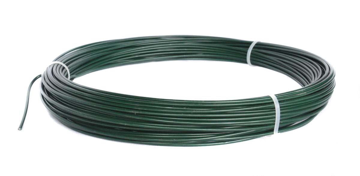 Napínací drát poplastovaný zelený (PVC) 2,2/3,2 mm, délka 52 m
