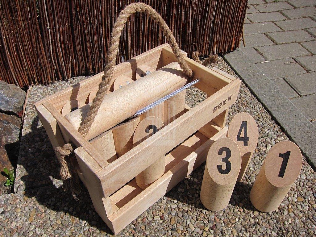 Kubb s čísly v dřevěném boxu