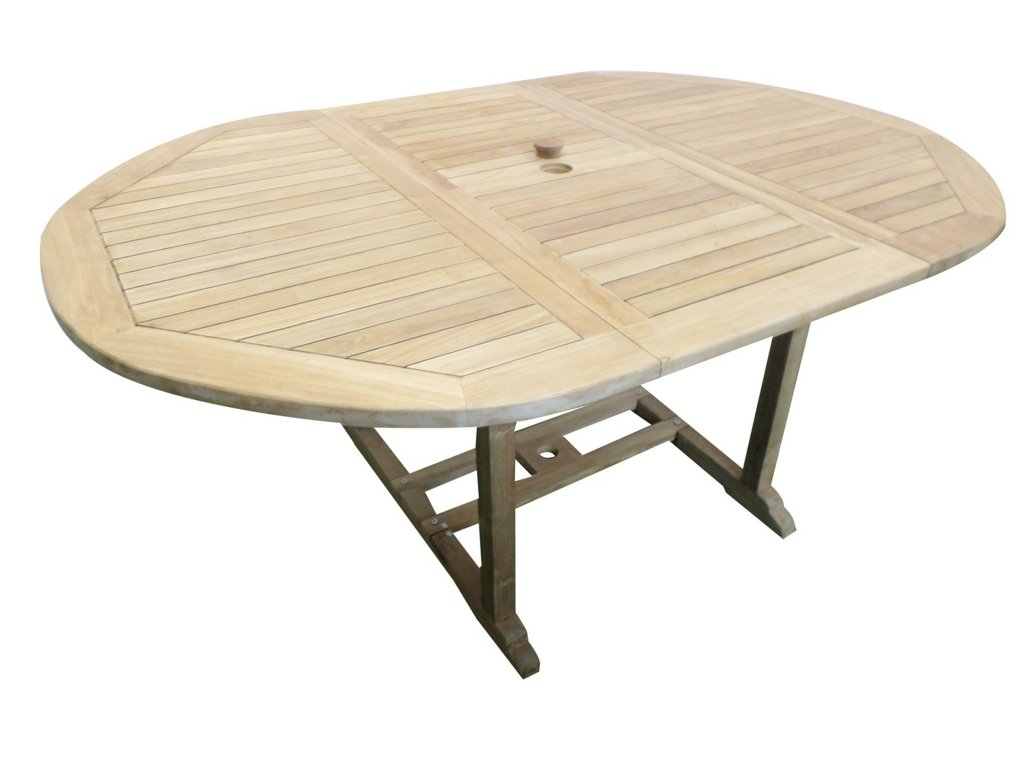 Jepara oválný teakový rozkládací stůl