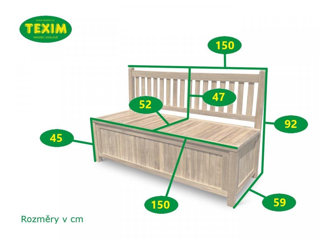 Ria teaková lavice 150 cm s úložným prostorem