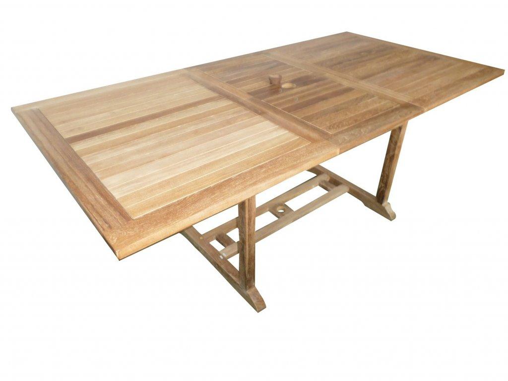 Dřevěný stůl Bali hranatý teakový rozkládací