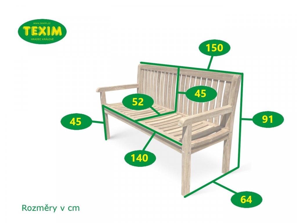Kingsbury zahradní lavice teak 150 cm