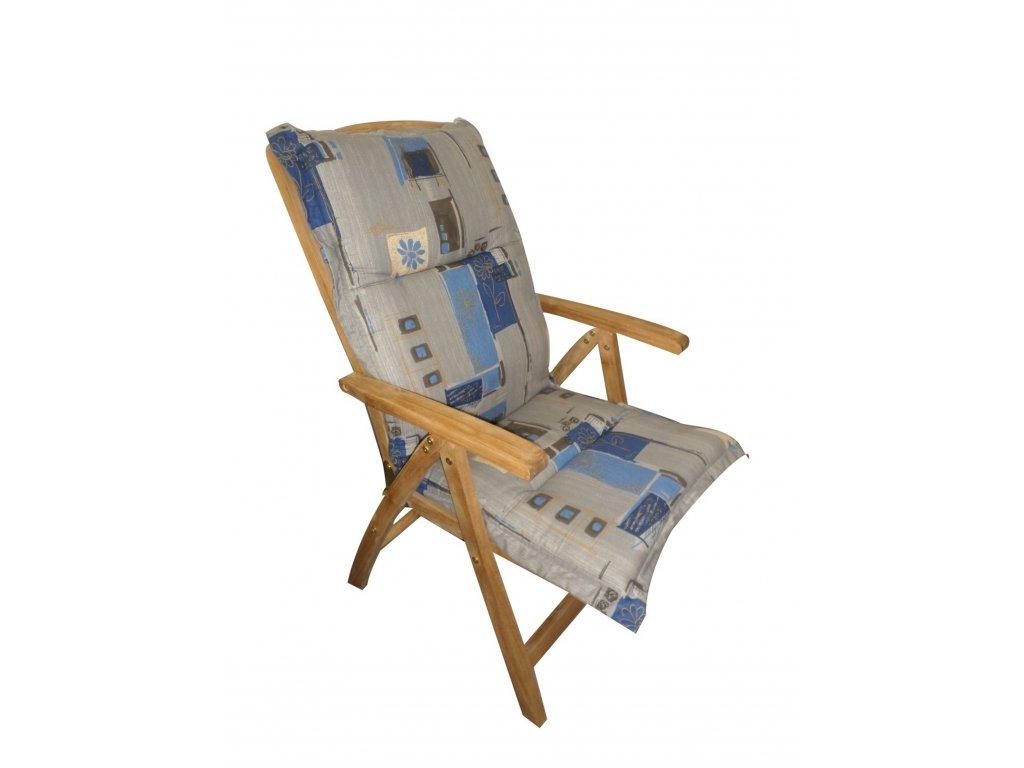 Polstr Šedo-modrý na polohovací židli